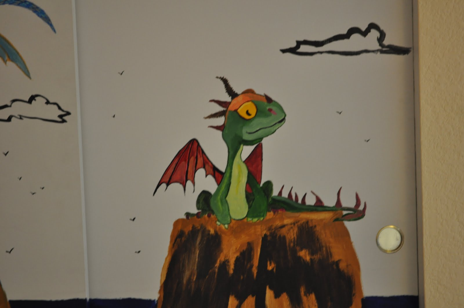How to train your dragon mural cappatoons for Dragon mural wallpaper